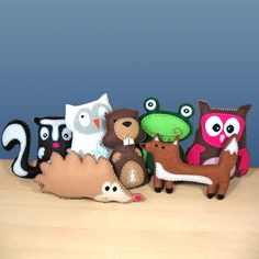Pick 1 Woodland Forest Animal Hand Sewing PATTERN - DIY Hand Embroidered Felt Stuffed Animals - Easy. $4.00, via Etsy.
