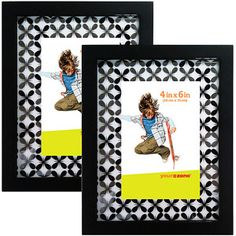 your zone 4x6 mirrored glass picture frame, black, set of 2