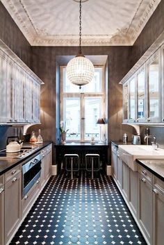 Small Galley Kitchen Ideas Kitchen With Black Tile Floor