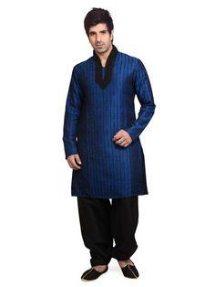 Blue Cotton Silk Pathani Suit Online Shopping: MCD882