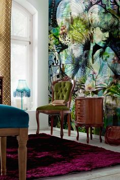 Aphrodite's garden wall mural | Loving the wall art, and that chair.