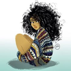 Discovered by mamandala. Find images and videos about art, drawing and illustration on We Heart It - the app to get lost in what you love. Black Girl Art, Black Women Art, Art Girl, African American Art, African Art, Natural Hair Art, Natural Hair Styles, Character Illustration, Illustration Art