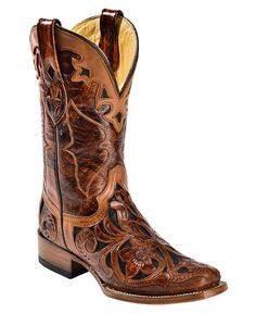 Corral Chedron Hand Tooled Cowgirl Boots - Square Toe
