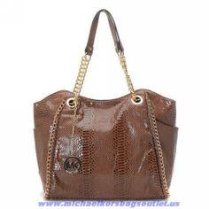 Michael Kors Coffee Snakeskin Chain Bag