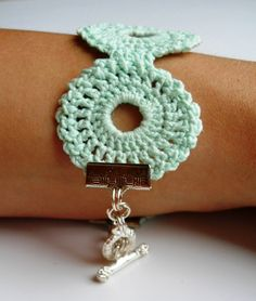 Mint Medallion Hand Crocheted Friendship Bracelet. Turn a table cloth pattern into a neat bracelet!