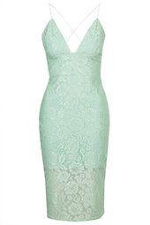 **Lace Illusion Cross-Back Midi Dress by Rare