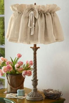 Vintage Linen Lampshade Cover - Lamp Shade Covers, Linen Lampshade | Soft Surroundings (ordered these!)