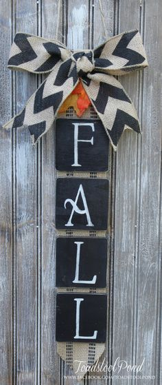 Rustic FALL Wall Hanging Burlap Chevron Wreath by ToadstoolPond