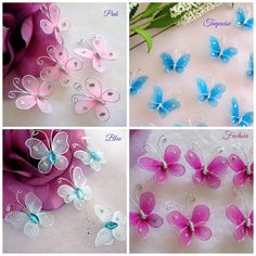 30 Pink Blue Fuchsia Turquoise Nylon Butterfly by Need these for the Cinderella paper slipper TinyLittleCharms
