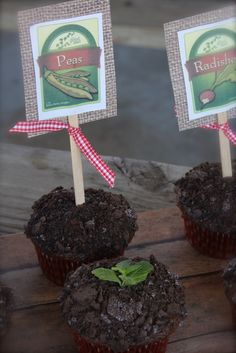 """Dirt"" cupcakes from a farm party #farmparty #cupcakes"