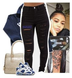 A fashion look from May 2016 featuring blue top, ripped jeans and man bag. Browse and shop related looks. Lit Outfits, Dope Outfits, Casual Outfits, Polyvore Outfits, Polyvore Fashion, Black Girl Fashion, Dope Fashion, Outfit Goals, My Outfit