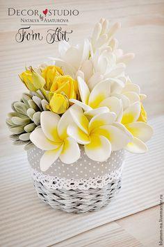 """Купить Букет """"Tropic-style"""" с цветами из фоамирана - букет, букет в подарок, букет интерьерный"""