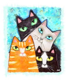Four Cat Pose Mixed Media at ArtistRising.com