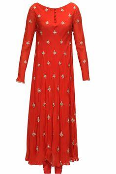 Red gold zardosi motifs long kurta set available only at Pernia's Pop- Up Shop. T- silk chifon, cotton satin lyning, India Fashion, Ethnic Fashion, Indian Attire, Indian Wear, Kurta Designs, Blouse Designs, Indian Dresses, Indian Outfits, Salwar Kameez