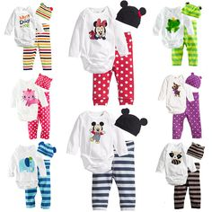 9bb6b1282 US $9.5 40% OFF|Aliexpress.com : Buy Cartoon Animal Printed Baby Clothing  Set Long Sleeve Romper+Pants+Cap 3pcs Set Stripe Polka Dot Newborn Boy Girl  ...