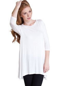 Three Quarter Sleeve Trapeze Top T1019IV, clothing, clothes, womens clothing, jeans, tops, womens dress