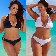 Super Hot PLUS SIZE Low Waist Push-Up Brazilian Style 2-PC Bikini Bathing Suit Black or White XL-4XL
