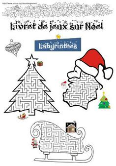 Livret de jeux sur Noël - #jeux éducatif sur le thème de #Noël - apprendre en s'amusant ! Christmas Maze, French Christmas, Christmas Colors, Christmas Holidays, Christmas Crafts, Christmas Activities, Christmas Printables, Activities For Kids, Theme Noel