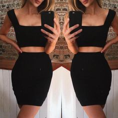 Trendy Low Cut Cropped Pencil Skirt Sets