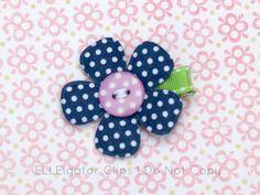 Tess  Navy Blue Button Flower Hair Clip  Girls by ELLEigatorClips, $3.50