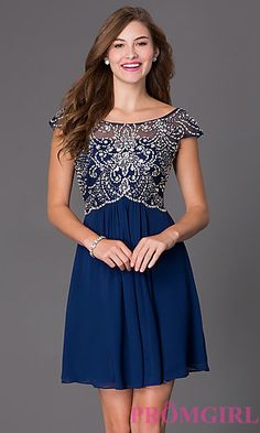 Cap Sleeve Beaded Cocktail Dress 7123 at PromGirl.com   Also comes in white.