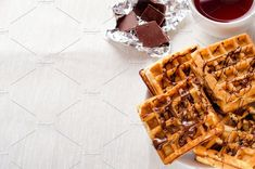 Belgian waffles with chocolate by Mellisandra on @creativemarket