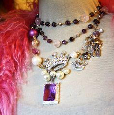 Crooked Crowns Rawk Necklace - miles and miles of handwired pearls, amethyst, rose quartz, kitchen sink...