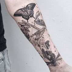 """8,233 Likes, 29 Comments - Pony Reinhardt Tattoo (@freeorgy) on Instagram: """"Eastern swallowtail life cycle, dandelion, tufted titmouse, carpenter bee, and mulberry branch.…"""""""
