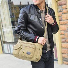 Retro Unisex Canvas Hand Bag Phone Pocket SingleShoulder Zipper Document Package