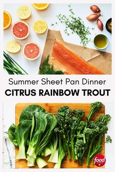 Sweet and tart citrus fruits together with sprigs of fresh herbs like thyme and dill come together to create a show-stopping summer supper. Trout Recipes, Sheet Pan Suppers, Easy Dinner Recipes, Dinner Ideas, Test Kitchen, Fresh Herbs, Slow Cooker Recipes, Food Network Recipes, Entrees