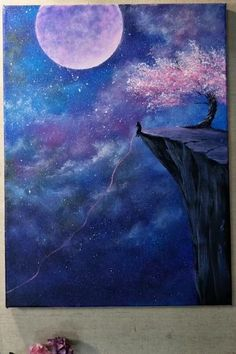 Beautiful Starry Sky Painting - Acrylic Painting Ideas - Painting Tutorials V. Moonlight Painting, Night Sky Painting, Canvas Painting Tutorials, Painting Canvas Crafts, Diy Painting, Painting & Drawing, Galaxy Painting Acrylic, Purple Painting, Black Painting
