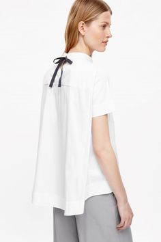 COS image 7 of Tie-neck cotton top in White