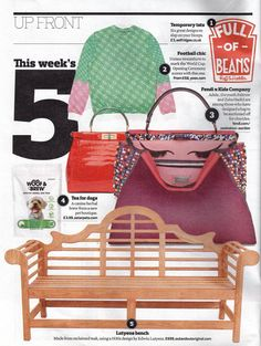 The Observer Magazine featured our beautiful reclaimed teak Lutyens Bench in 'UP FRONT - this week's 5' in May 2014. Currently available from our website for £599 (down from £699) http://www.outandoutoriginal.com/index.php?route=product/search&search=lutyens