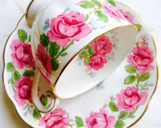 Queen Ann Lady Alexander Rose Pink Cabbage Rose Tea Cup and Saucer
