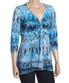 This Blue Abstract V-Neck Top - Plus by GLAM is perfect! #zulilyfinds