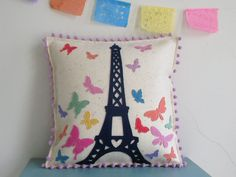 Paris Eiffel Tower and Butterfly Pillow, Paris in the Springtime, Colorful Spring Butterfly Pillow