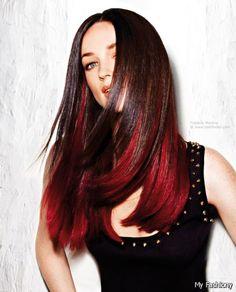 Red Dip Dyed Hair On Brown Hair 2016-2017