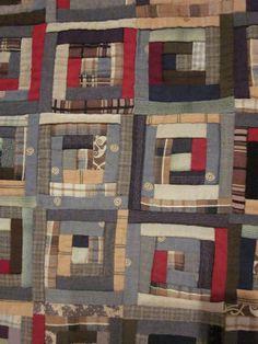 Detail of the Civil War-era Log Cabin quilt from Deb Rowden's Thrift Shop Quilts blog