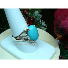 Turquoise Gemstone Ring Sterling Silver Jewelry SylCameoJewelsStore ($27) ❤ liked on Polyvore featuring jewelry and rings