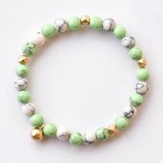 green turquoise beaded  bracelet elegant  brief and by vivienjoy, $29.00