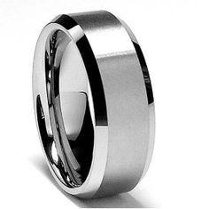 8MM High Polish / Matte Finish Men`s Tungsten Ring Wedding Band Sizes 7 to 15