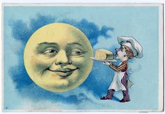 Every time you are eating a piece of cheese you're eating a piece of our moon. Save the moon! stop eating cheese! The moon is smiling cause it cant wait to stop going around in circles, but who cares what the moon thinks.    This is a Victorian Trade card(even then they knew the moon was just cheese)