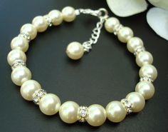 Bridal Pearl Bracelet, Ivory Swarovski Pearls, Classic Bracelet, BIBI. $23.00, via Etsy.