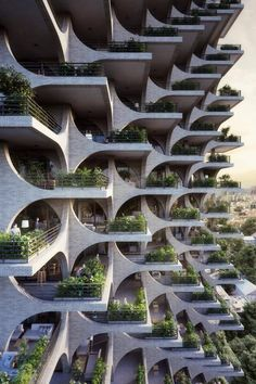 Penda has designed a residential tower in Tel Aviv, with facades made of modular archways, which aims to compliment the city's Bauhaus architecture. Architecture Design, Green Architecture, Facade Design, Futuristic Architecture, Sustainable Architecture, Beautiful Architecture, Landscape Architecture, Residential Architecture, Bauhaus Architecture