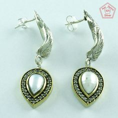 INCREDIBLE DESIGN PEARL & CZ STONE 925 STERLING SILVER STUDS EARRINGS E3231…