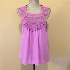 """Lace Top Tank Light Purple loose fitting tank with lace detail. Size Medium. Measures 18"""" across chest when laid flat. EUC CY usa Tops Tank Tops"""