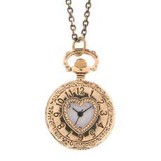Antique Gold Cut Out Heart Pocket Watch Locket Pendant Necklace