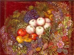 "Still life ""Flowers, apples, tomatoes"" - Kateryna Bilokur"