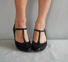 vintage shoes | vintage Classic Black TSTRAP Heels by DearGolden on Etsy