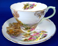 Shelley Heather Cup and Saucer New Cambridge England Landscape 1940s